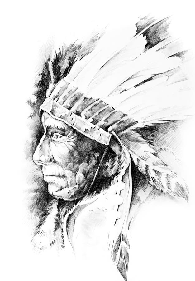 Nakreślenie tatuaż sztuka, rodowitego amerykanina hindus royalty ilustracja