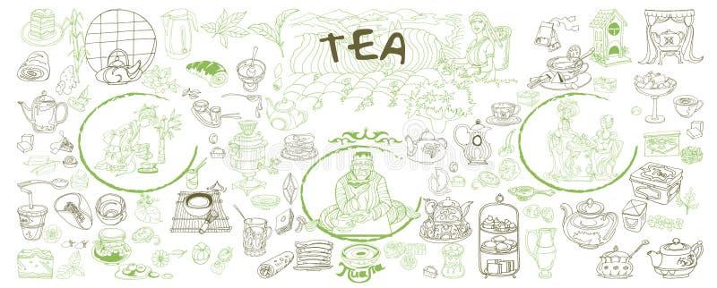 Nakreślenie Tradycyjni Herbaciani elementy Ustawiający ilustracji
