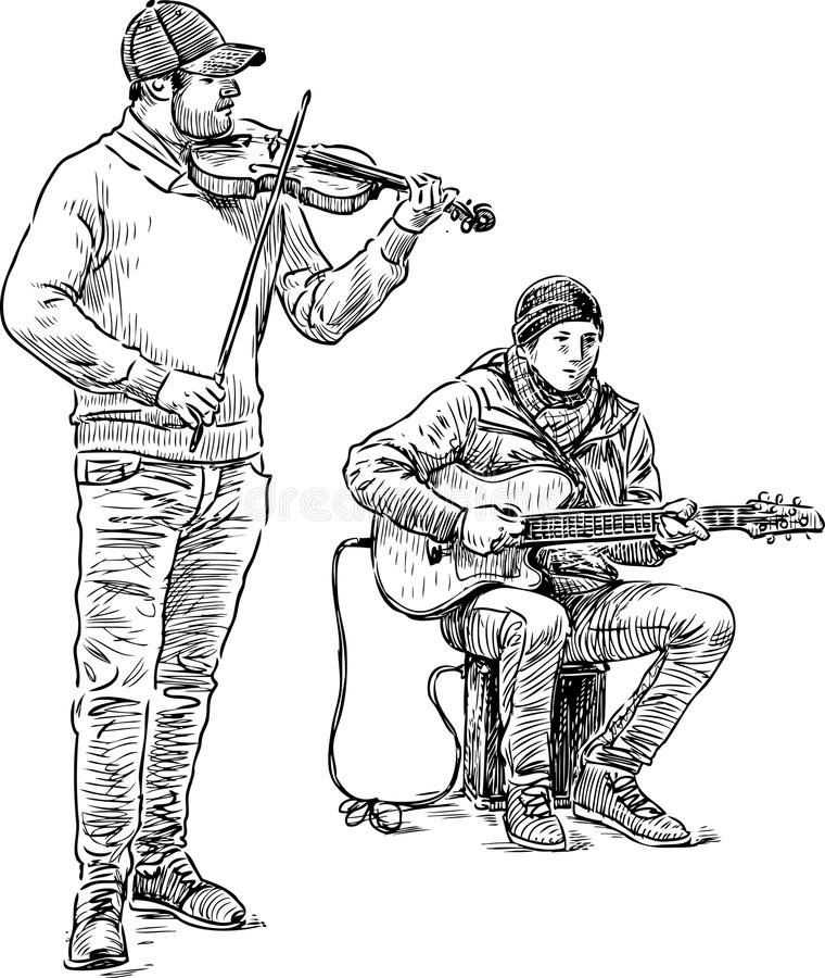 Nakreślenie uliczni muzycy royalty ilustracja