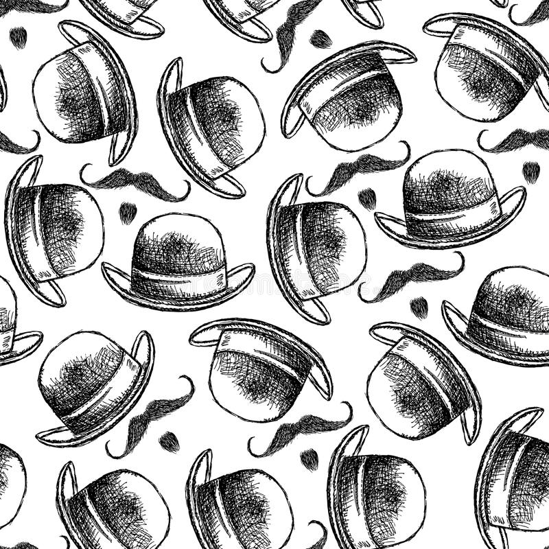 Nakreślenie wąsy i kapelusz ilustracja wektor