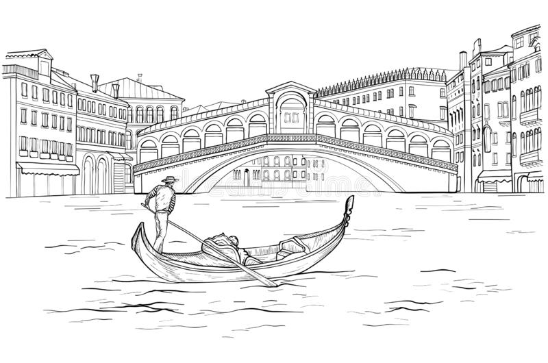 Nakreślenie Wenecka gondola z gondolierem, Realto most czarny white royalty ilustracja