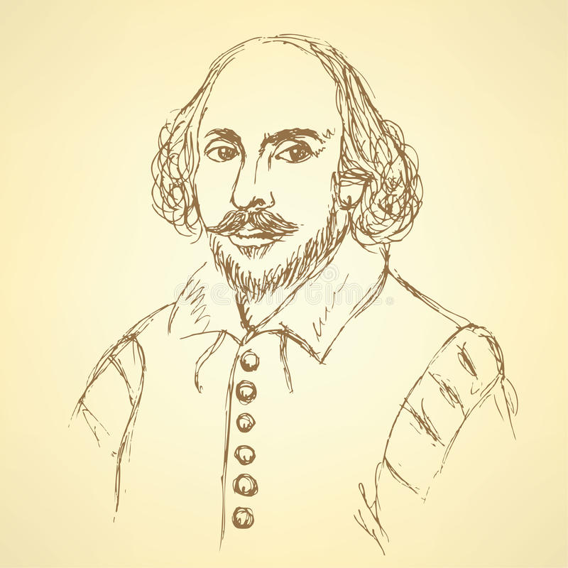 Nakreślenie William Shakespeare portret w rocznika stylu ilustracja wektor