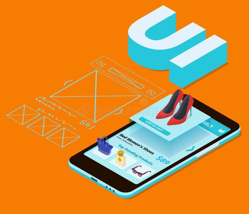 Nakreślenie wiszącej ozdoby zastosowanie Mobilny app rozwój royalty ilustracja