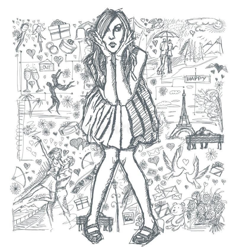 Nakreślenie Zdziwiona kobieta W sukni Przeciw Love Story tłu 03 royalty ilustracja