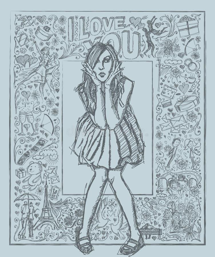 Nakreślenie Zdziwiona kobieta W sukni Przeciw Love Story tłu ilustracji
