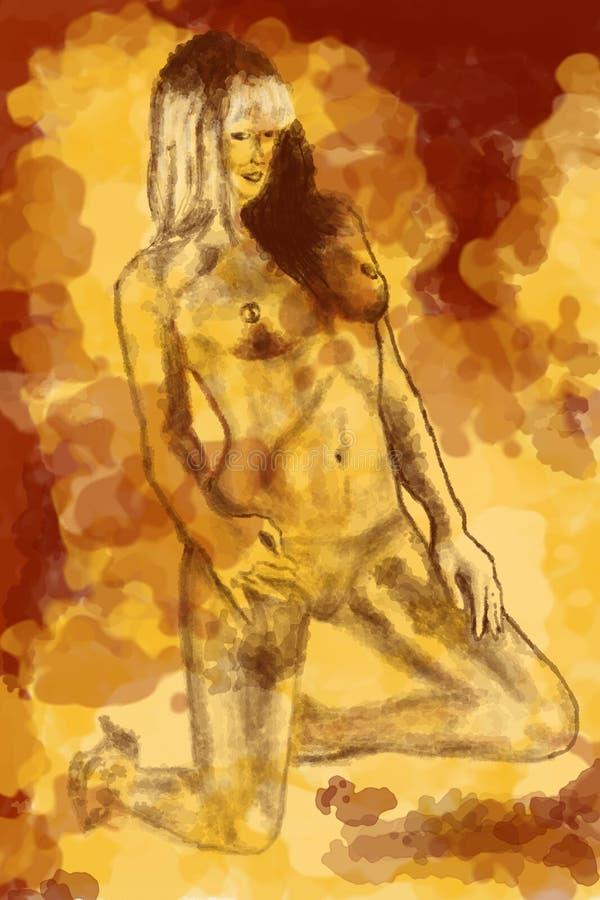 Download Nakreślenie naga kobieta ilustracji. Ilustracja złożonej z zadumany - 13331774