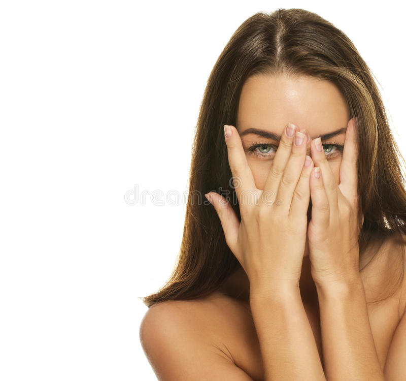nakrycie piękna twarz wręcza jej kobiety obraz stock