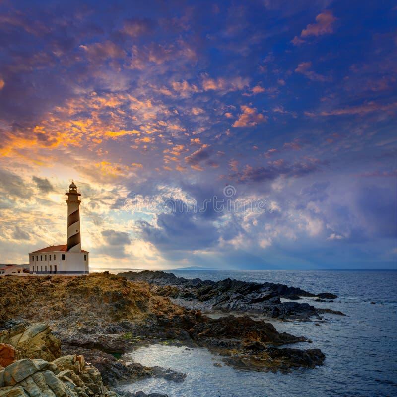 Nakrywa De Favaritx zmierzchu latarni morskiej przylądek w Mahon obraz royalty free
