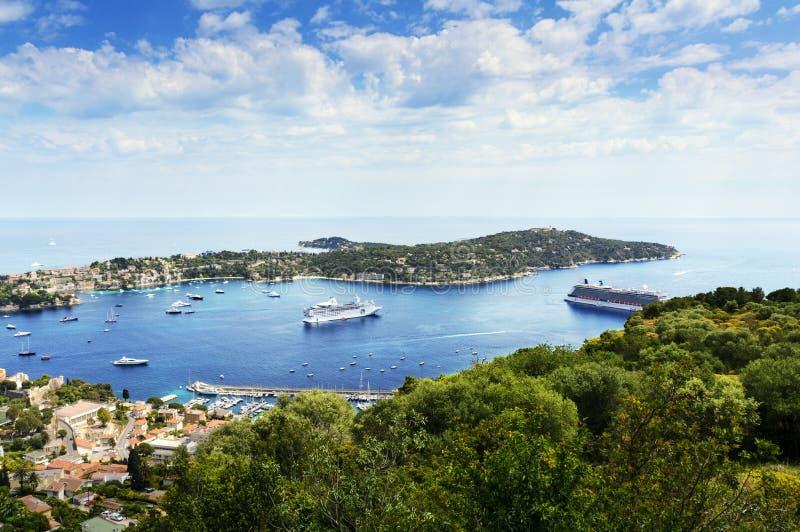 Nakrywa Ferrat i łodzie, CÃ'te d'Azur, Francja obraz stock