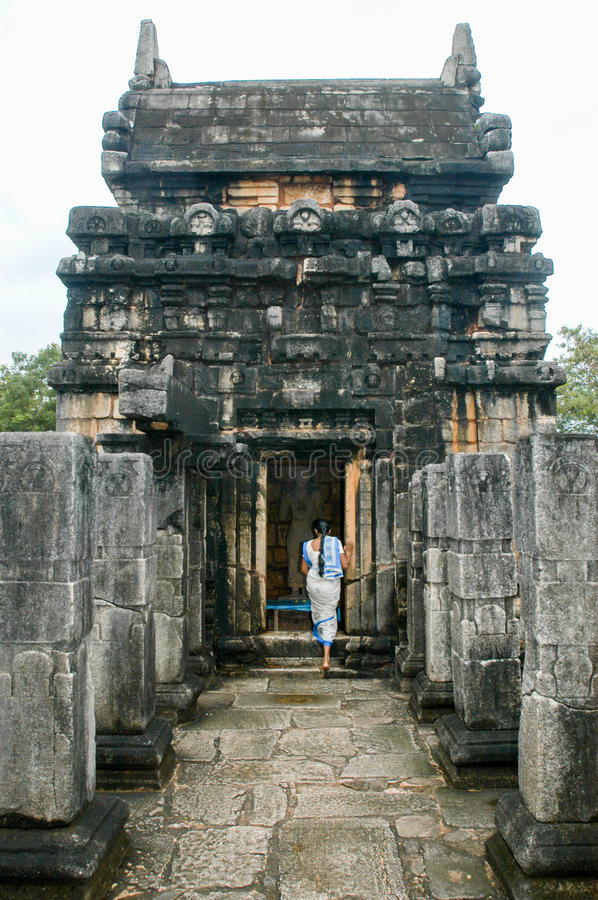 Nalanda Gedige temple, ancient complete stone building near Matale stock images