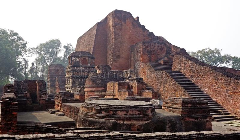 Nalanda Mahavihara ruïneert Hoofdtempel 1 royalty-vrije stock foto's