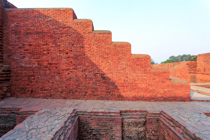 Nalanda University. Excavated remains of a monastic and scholastic institution at Archaeological Site of Nalanda Mahavihara (Nalanda University) at Nalanda royalty free stock photo