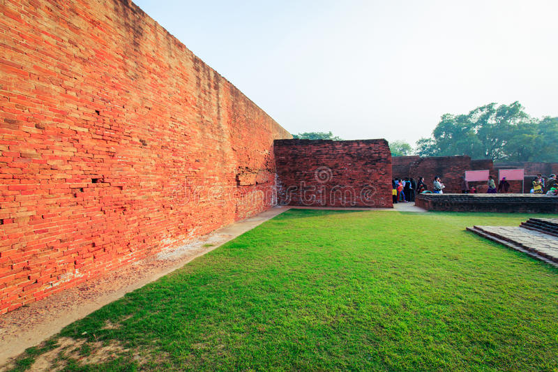 Nalanda University. Excavated remains of a monastic and scholastic institution at Archaeological Site of Nalanda Mahavihara (Nalanda University) at Nalanda stock photography