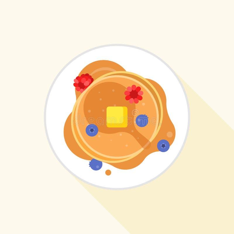 Naleśnikowa ikona ja widok z lotu ptaka z klonowym syropem, masłem, czarną jagodą i malinką, ilustracja wektor