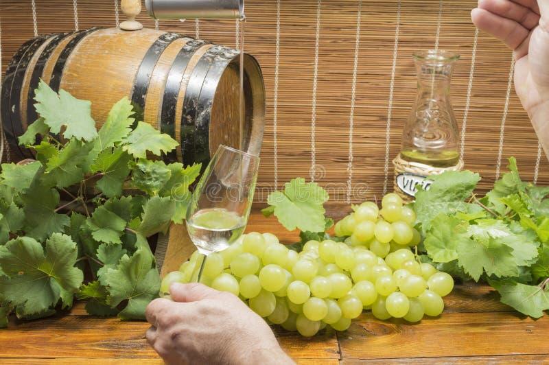 Nalewa wino w szkle obraz royalty free