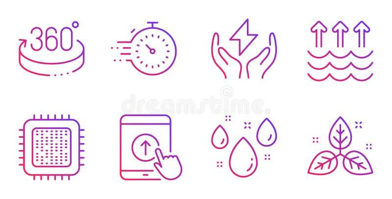 Nalla upp, uppsättningen för 360 grader och avdunstningsymboler CPU-processor, tidmätare och regnigt vädertecken vektor vektor illustrationer