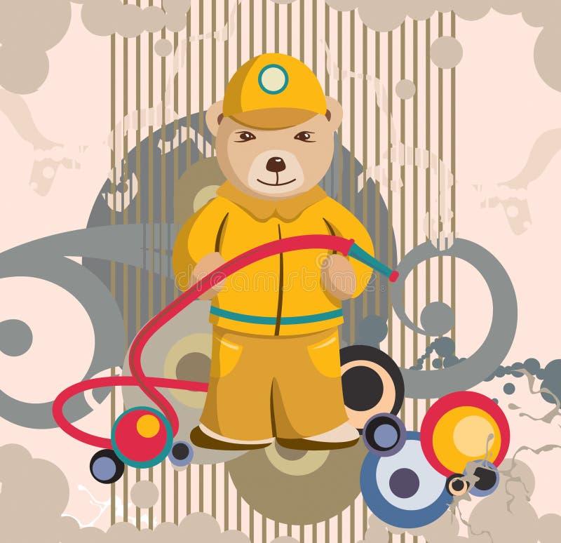 nalle för bakgrundsbjörnbrandman vektor illustrationer