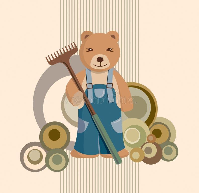 nalle för bakgrundsbjörnträdgårdsmästare stock illustrationer