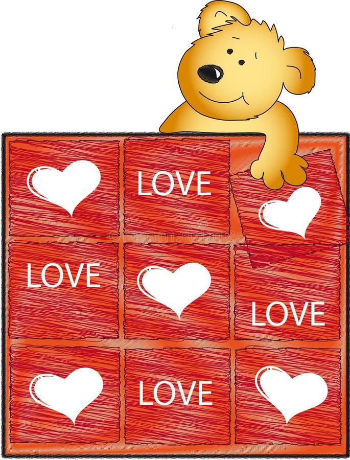 nalle för björnförälskelsepussel royaltyfri illustrationer
