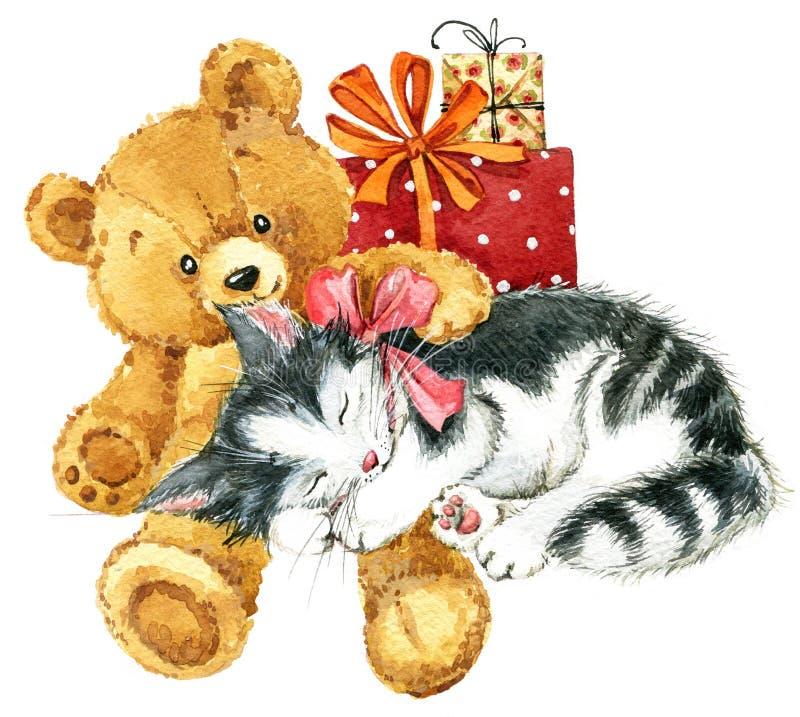 Nallebjörn för födelsedagkort vattenfärg stock illustrationer