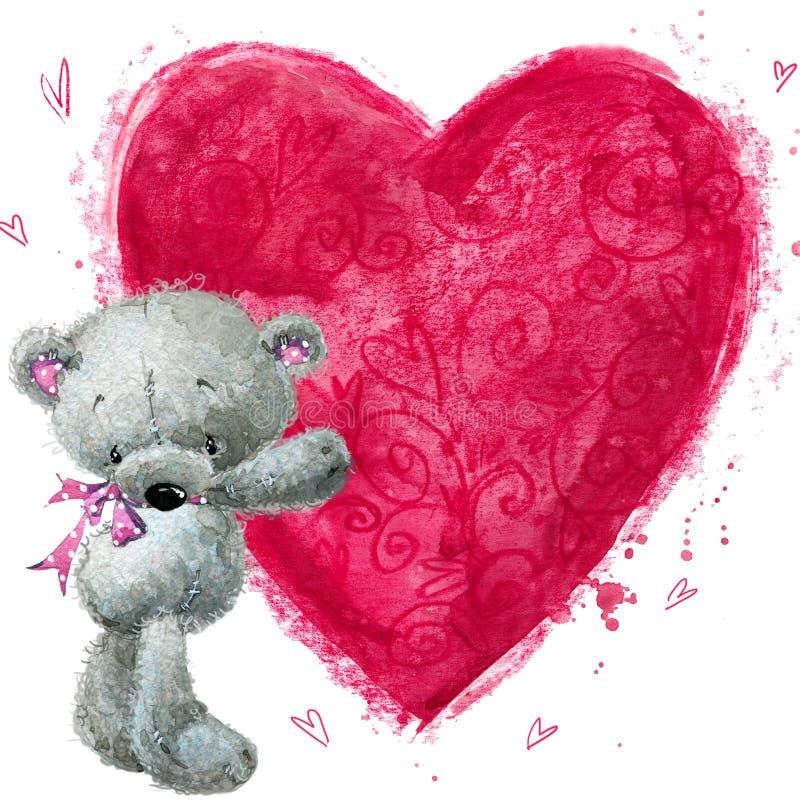 Nallebjörn med den stora röda hjärtan Hjärta med Swans på Retro bakgrund vektor illustrationer