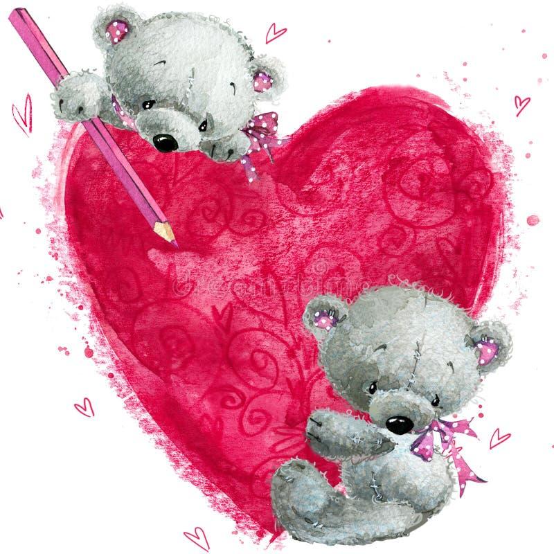 Nallebjörn med den stora röda hjärtan Hjärta med Swans på Retro bakgrund royaltyfri illustrationer