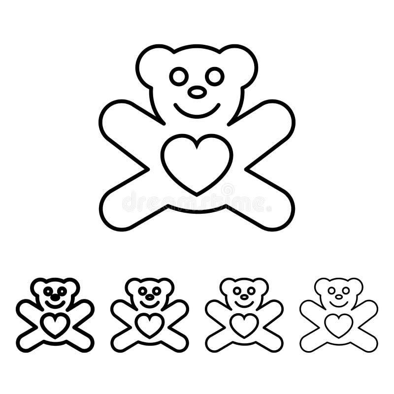 nallebjörn med hjärtasymbolen i olik tjockleksstil En av valentinsamlingssymbolen kan användas för UI, UX vektor illustrationer