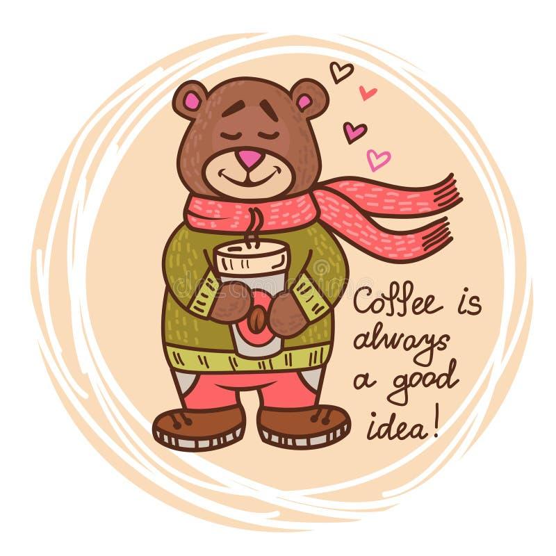 Nallebjörn med kaffe royaltyfri illustrationer