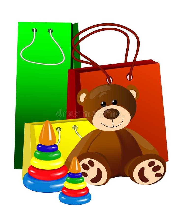 Nallebjörn med leksakpyramiden fotografering för bildbyråer