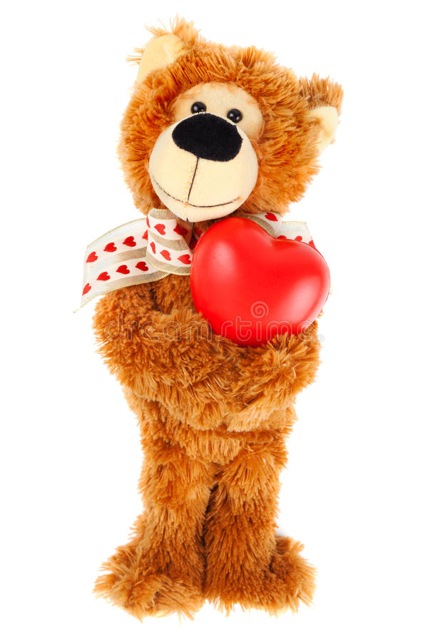 Nallebjörn med röd hjärta arkivbild