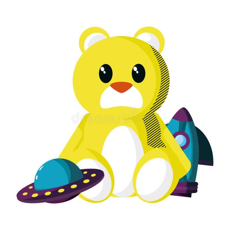 Nallebjörn med raket och ufo-leksaker royaltyfri illustrationer