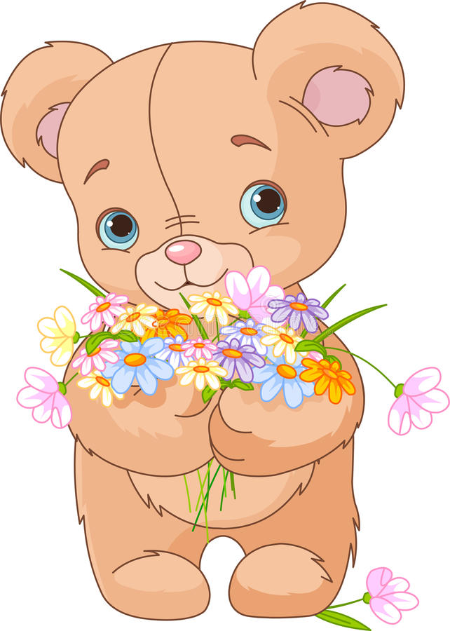 Nallebjörn som ger buketten stock illustrationer