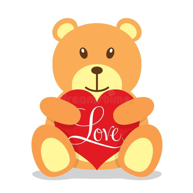 Nallebjörn som rymmer en stor röd hjärta royaltyfri illustrationer