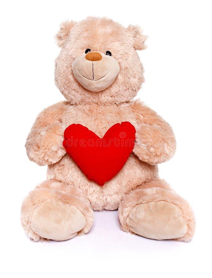 Nallebjörn som rymmer röd hjärta arkivfoton