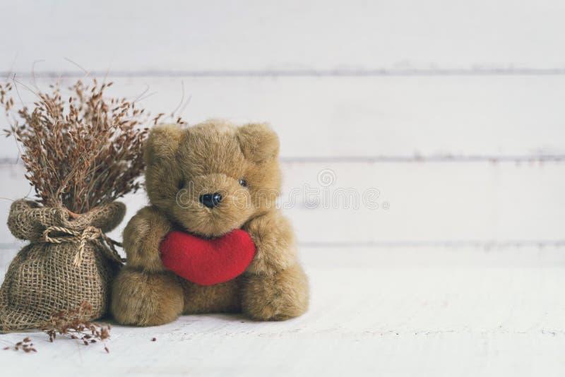 Nallebjörn som rymmer röd hjärtaform med den torkade blomman arkivbild