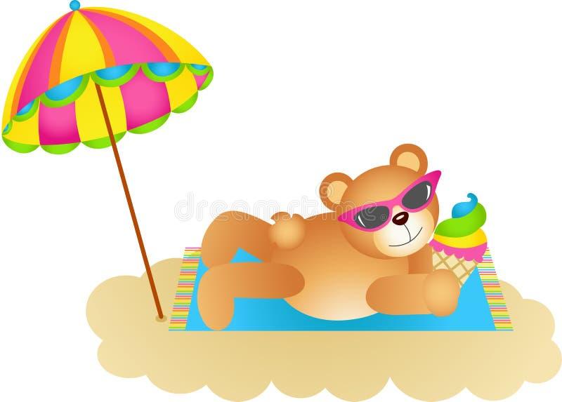 Nallebjörn som upp blöter solen på en strand stock illustrationer