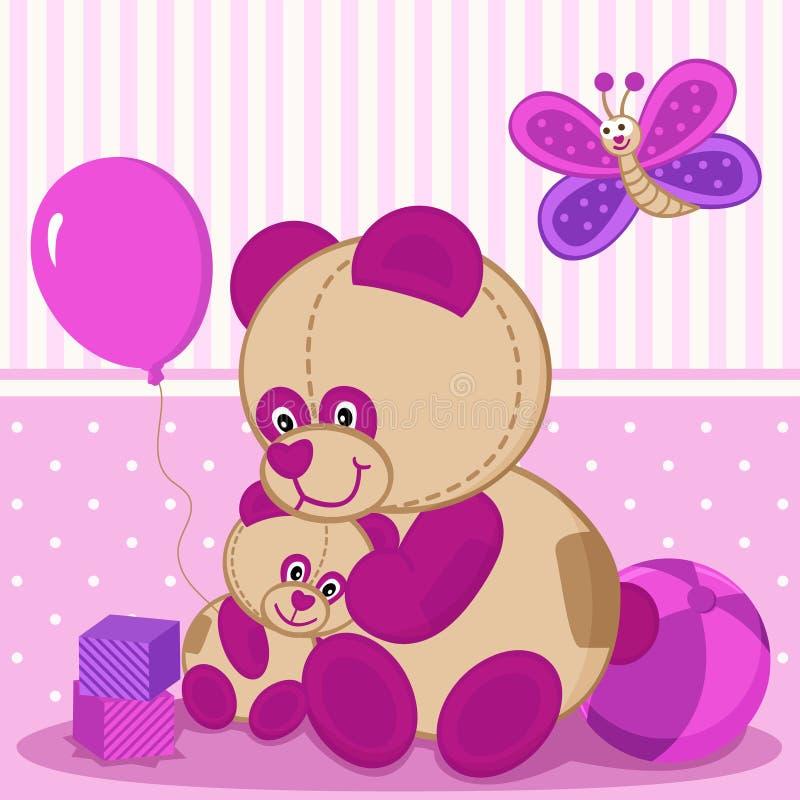 Nallebjörnar fostrar och behandla som ett barn vektor illustrationer