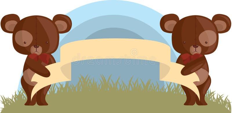 Nallebjörnar med ett tomt baner