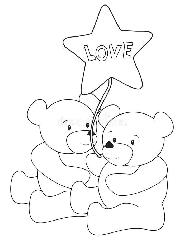 Nallebjörnar som färgar sidan royaltyfri illustrationer