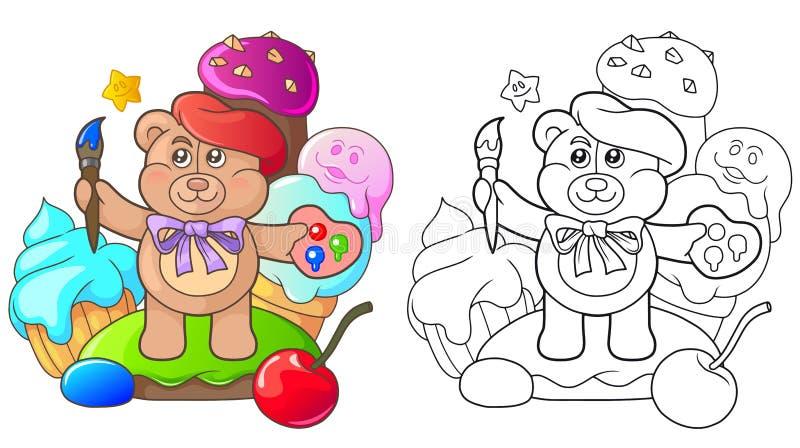 Nallebjörnen är bland sötsakerna royaltyfri illustrationer