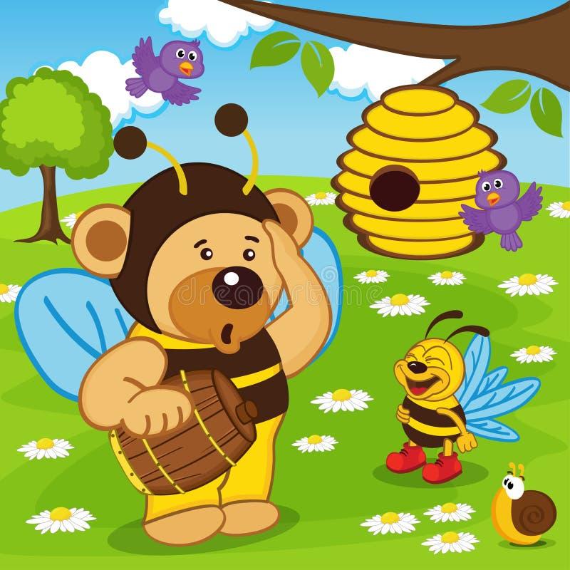 Nallebjörnen som kläs som bi, går för honung royaltyfri illustrationer