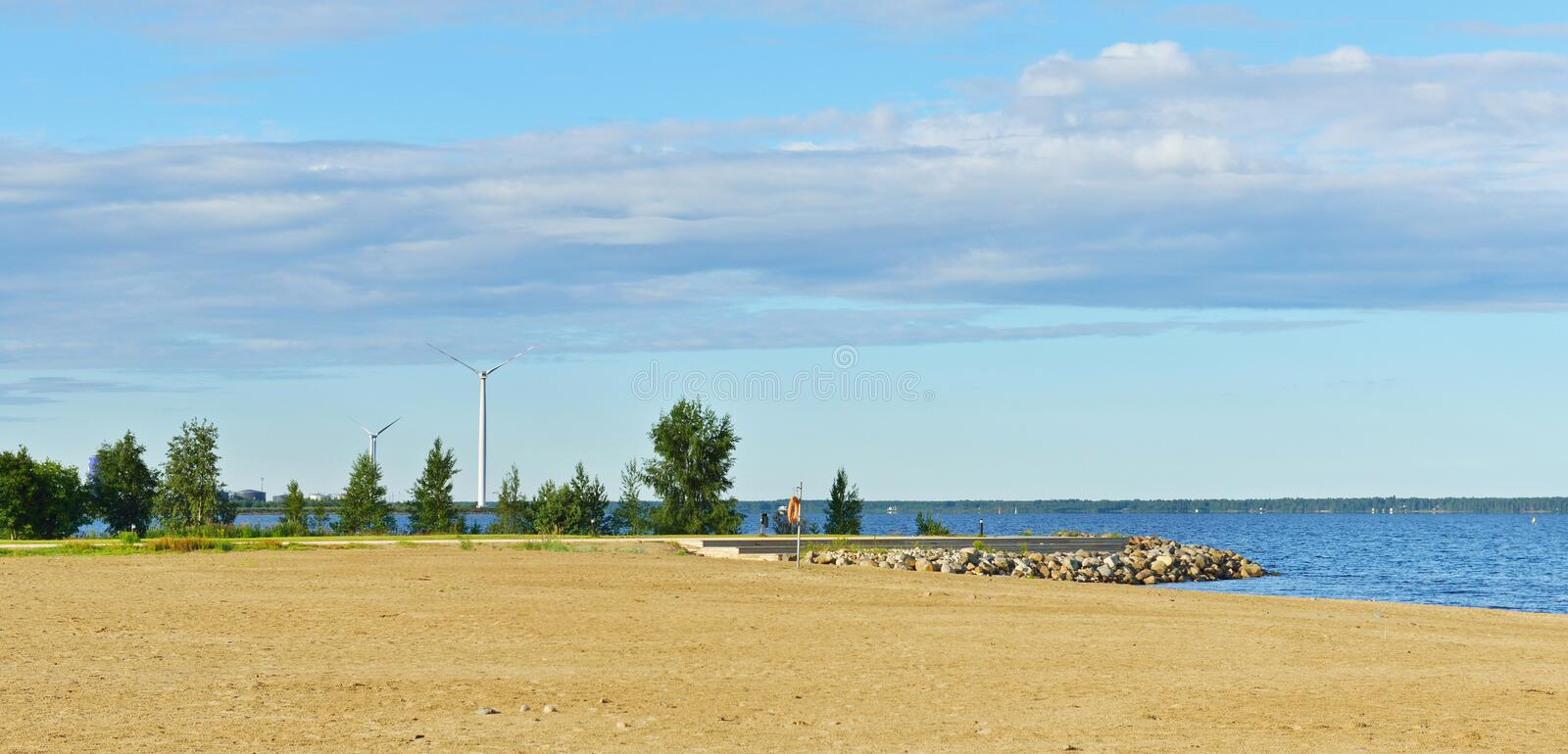 Nallikari beach in Oulu. Finland royalty free stock photography