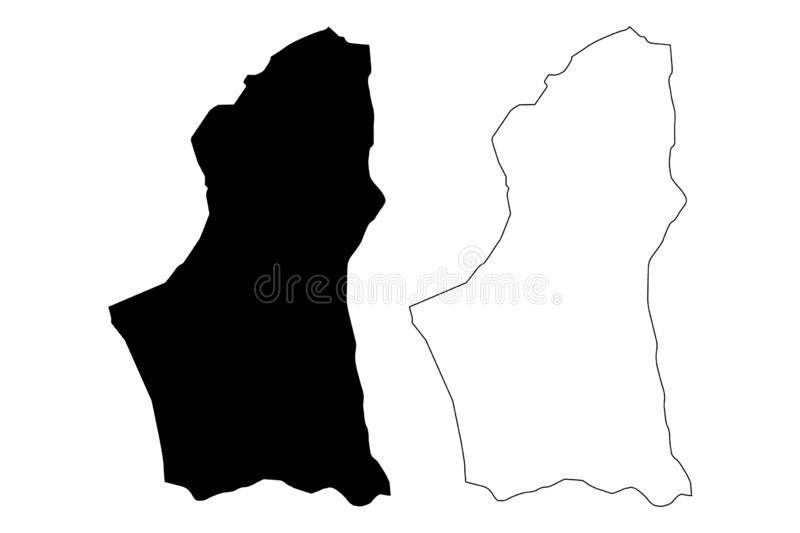 Nalut District Districts of Libya, State of Libya, Tripolitania map vector illustration, scribble sketch Nalut map.  vector illustration