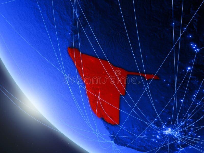 Namíbia do espaço com rede ilustração do vetor