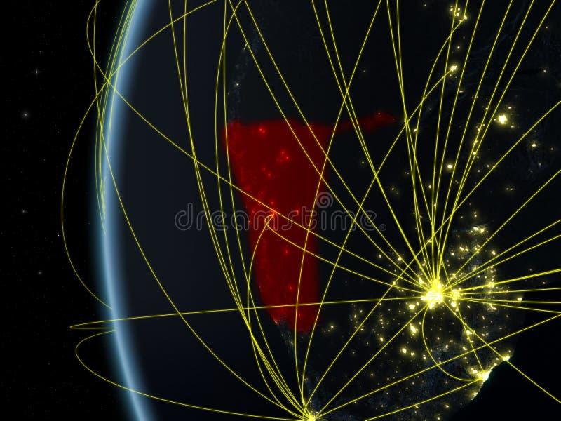Namíbia do espaço com rede ilustração royalty free