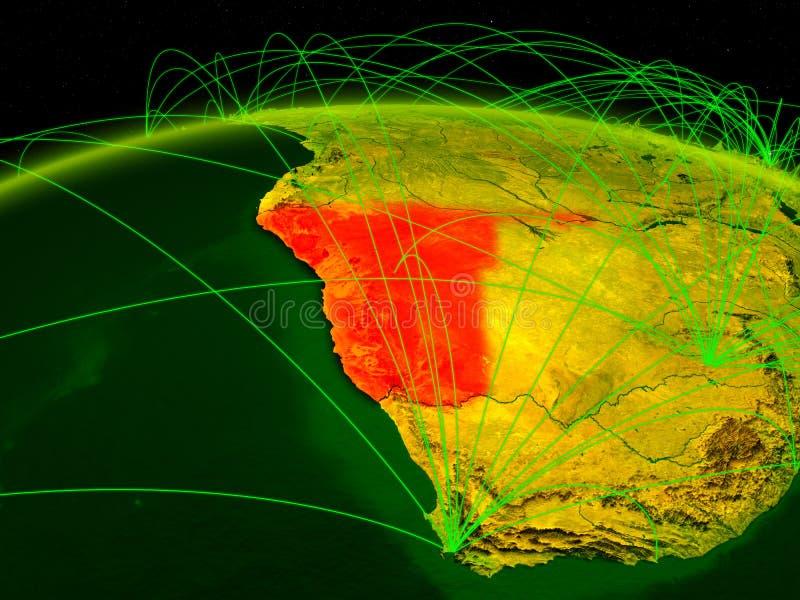 Namíbia na terra digital do planeta com a rede internacional que representa uma comunicação, o curso e as conexões ilustração 3D ilustração stock