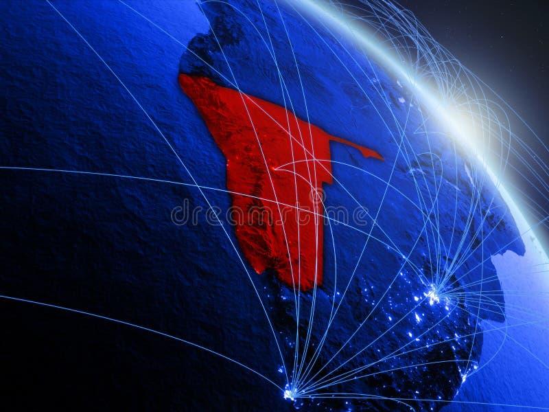 Namíbia no globo digital azul azul ilustração stock