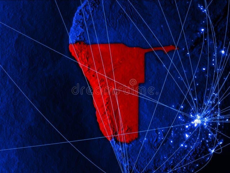 Namíbia no mapa digital azul com redes Conceito do curso internacional, da comunicação e da tecnologia ilustração 3D ilustração stock