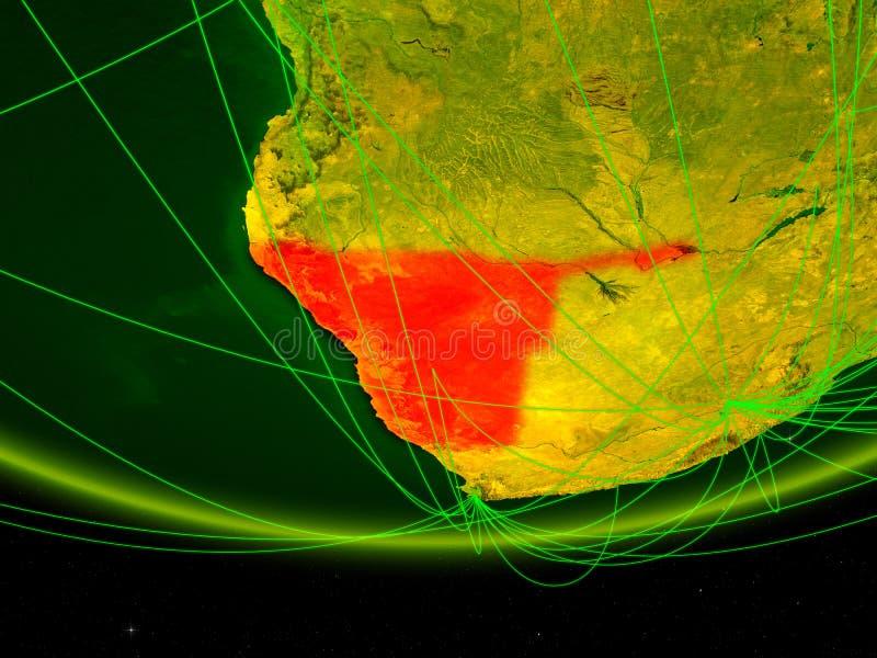 Namíbia no modelo verde da terra do planeta com a rede que representa a era digital, o curso e a comunicação ilustração 3D elemen ilustração royalty free