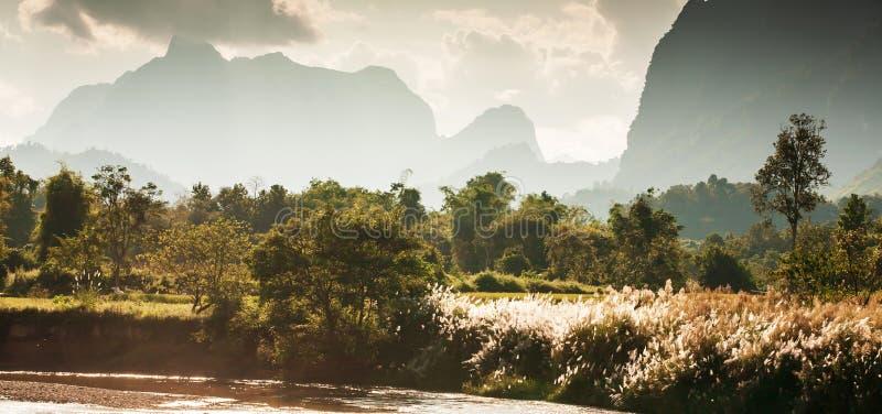 Nam冬天黄昏的歌曲河风景风景,金黄阳光通过山脉发光在谷和狂放的芦苇 库存照片
